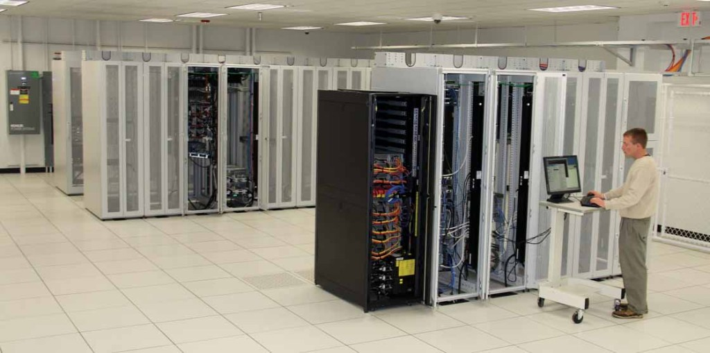 Server racks at the protected Data Center operated by SIS in Lexington provide secure IT services for companies in Kentucky and elsewhere. Several Kentucky leaders cite maintaining technological competitiveness as a key strategy for economic growth in 2013.