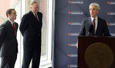 Henry Heuser Jr. announces $3 million in scholarships to UofL. At left is UofL president James Ramsey and student Sean Butterbaugh. Photo courtesy of UofL