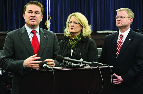 Agriculture Commissioner James Comer, left, and state Senators Robin Webb and Damon Thayer speak to the news media regarding Senate Bill 50 on Thursday in Frankfort. (Kentucky Department of Agriculture photo)