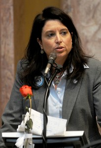 House Majority Caucus Chair Sannie Overly, D-Paris, explains a human trafficking bill in the Kentucky House of Representatives. (Photo courtesy of Legislative Research Commission Public Relations.)