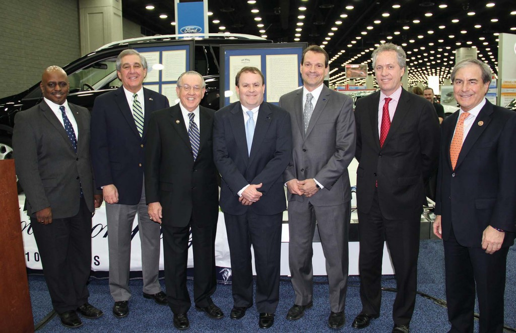 Ford recently celebrated the 100th anniversary of its Louisville Assembly Plant. Company officials and Louisville leaders gathered to mark the occasion, including Lt. Gov. Jerry Abramson, second from left, Joseph Bobnar, manager of the Ford Kentucky Truck Plant, John Savona, manager of the Louisville Assembly Plant, Mayor Greg Fischer and U.S. Rep. John Yarmuth.