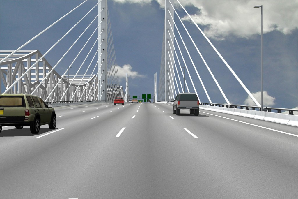 An artist's rendering of the view from the future Downtown Crossing of the Ohio River Bridges Project. Officials plan to use all-electronic tolling on the bridges.