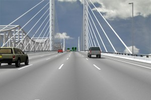 An artist's rendering of the view from the future Downtown Crossing of the Ohio River Bridges Project.