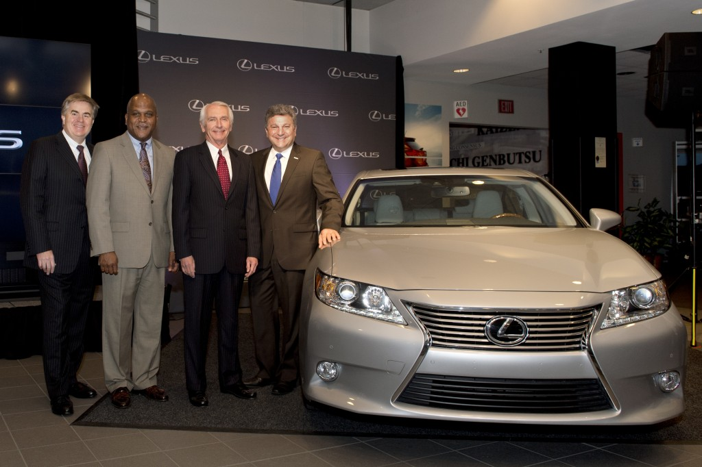 Toyota Motor Sales Senior Vice President of Automotive Operations Bob Carter. left, Toyota Motor Manufacturing, Kentucky President Wil James, Kentucky Gov. Steve Beshear and Steve St. Angelo, chief executive officer of Toyota's Latin American and Caribbean Region, stand with a Lexus ES 350, a vehicle that will be built at the Georgetown, Ky. plant. Senior executives in New York and Kentucky made the production announcement April 19.