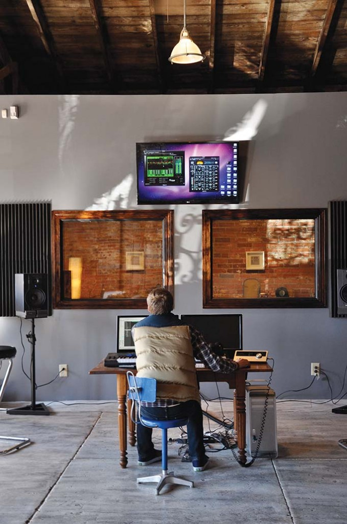 AJ Hochhalter of Listen Design Studio works scoring and mixing original compositions for clients ranging from documentaries to professional marketing videos.