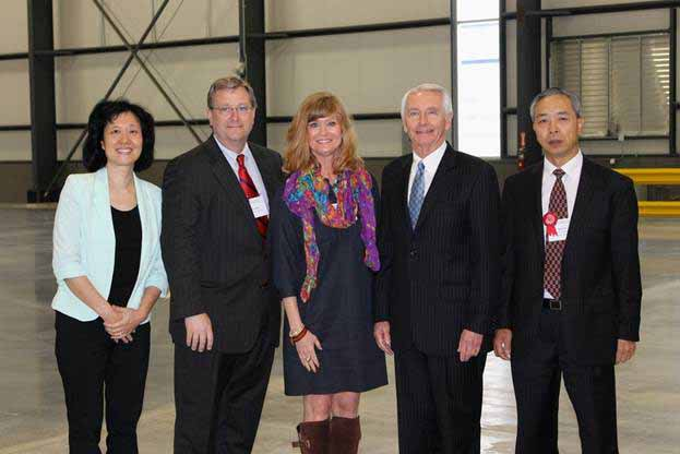 From left are: Ying Juan Rogers (president of Birtley), Bob Quick and Gina Greathouse of Commerce Lexington, Gov. Steve Beshear and a Birtley official.