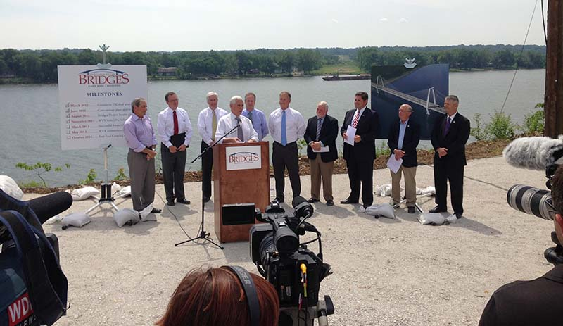Gov. Mike Pence on Wednesday joined WVB East End Partners and state and local officials to mark the long-awaited start of construction on the East End Crossing.