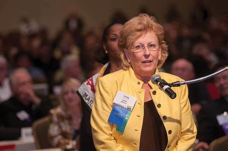 Dr. Ardis Hoven, then secretary of the American Medical Association, speaks at an AMA meeting in Orlando, Fla., in 2008.