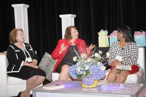 Republic Bank's Jean Hale, left, and Lindy Karns, director at Blue and Co., share career and life lessons they've learned during a panel discussion at the Women Leading Kentucky Conference. Renee Shaw, producer and host at KET, moderated the panel.
