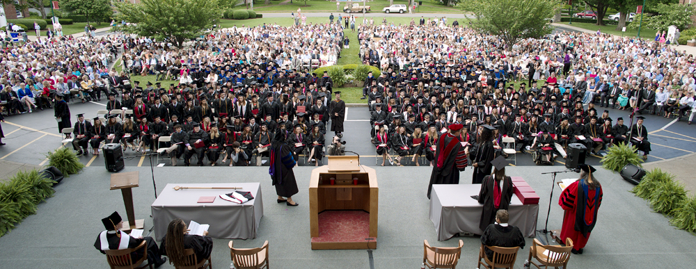 The Transylvania University Class of 2013 celebrate commencement Saturday on the lawn of historic Old Morrison. (Photo by Joseph Rey Au)