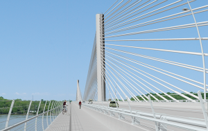The new Project East End Bridge walkway, part of the Louisville-Southern Indiana Ohio River Bridges Project, is shown in this artist's rendering. It is a $2.6 billion project is an example of a public-private partnership.