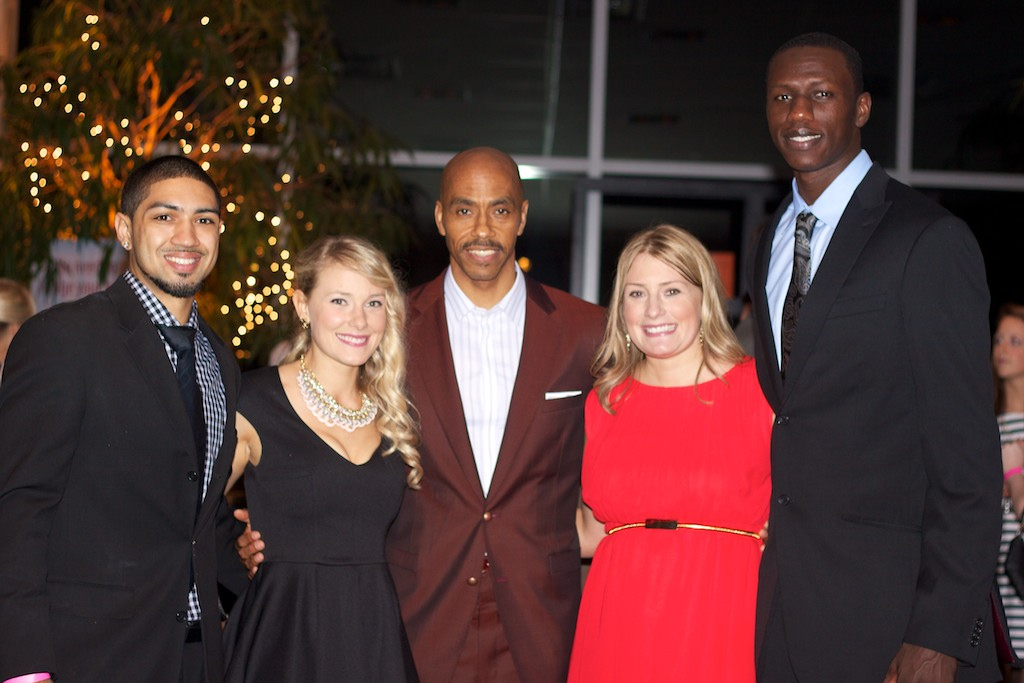 From left are: 2013 champion Peyton Siva, who served as celebrity host of Ferdinand's Ball; event co-founder, Aimee Boyle Wulfeck; 1986 UofL champion Darrell Griffiths; event co-founder Kim Boyle; and 2013 champion Gorgui Dieng. (Photo courtesy of Drew and Christina Mackell)