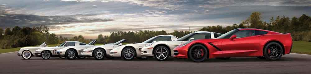 The 2014 Corvette Stingray is shown here with the previous six generations of the iconic sports car.