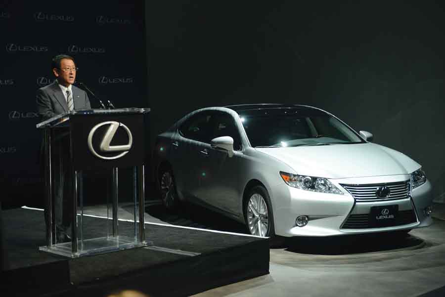 """Akio Toyoda, president of Toyota Motor Co., announces that Toyota Motor Manufacturing Kentucky (TMMK) in Georgetown will begin producing the Lexus ES 350 beginning in 2015. Toyota chose Kentucky because of its """"successful 25-year partnership with the state,"""" Toyoda said during a press conference in New York that coincided with a simultaneous conference at the Georgetown plant. TMMK was Toyota's first stand-alone plant in the U.S.  (Photo by Toyota Motor Corp.)"""
