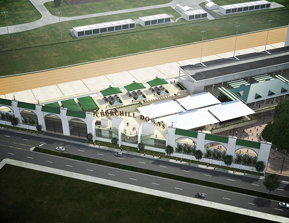 An artist's rendering of the aerial view of Churchill Downs' new Grandstand Terrace and Rooftop Garden.
