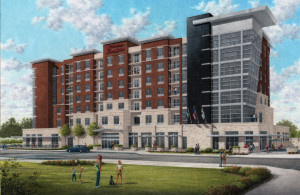An artist's rendering of the $20 million Hampton Inn & Suites the Malcolm Bryant Corp. is building adjoining the new Owensboro Convention Center.