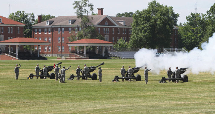 The Fort Knox 3rd Brigade Combat Team, 1st Infantry Division soldiers perform a 21-cannon salute May 27 during a Memorial Day ceremony. The brigade combat team at Fort Knox is among 12 in the U.S. Army that have been identified for inactivation by 2017. (Fort Knox photo)