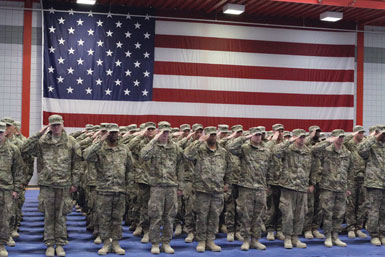 Members of the Fort Knox 3rd Brigade Combat Team, 1st Infantry Division return from a yearlong deployment to Afghanistan in this Dec. 31, 2011. (Fort Knox photo)
