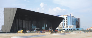 The $47 million Owensboro Convention Center overlooking the Ohio River is scheduled to open later this year with a 44,000-s.f. exhibition hall and 48,000 s.f. of ballroom and meeting space. It is designed by Trahan Architects of New Orleans. (Debra Gibson Isaacs photo)