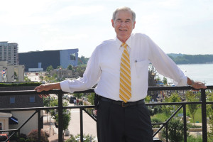 Mayor Ron Payne with the Owensboro downtown riverfront in the background. (Debra Gibson Isaacs photo)