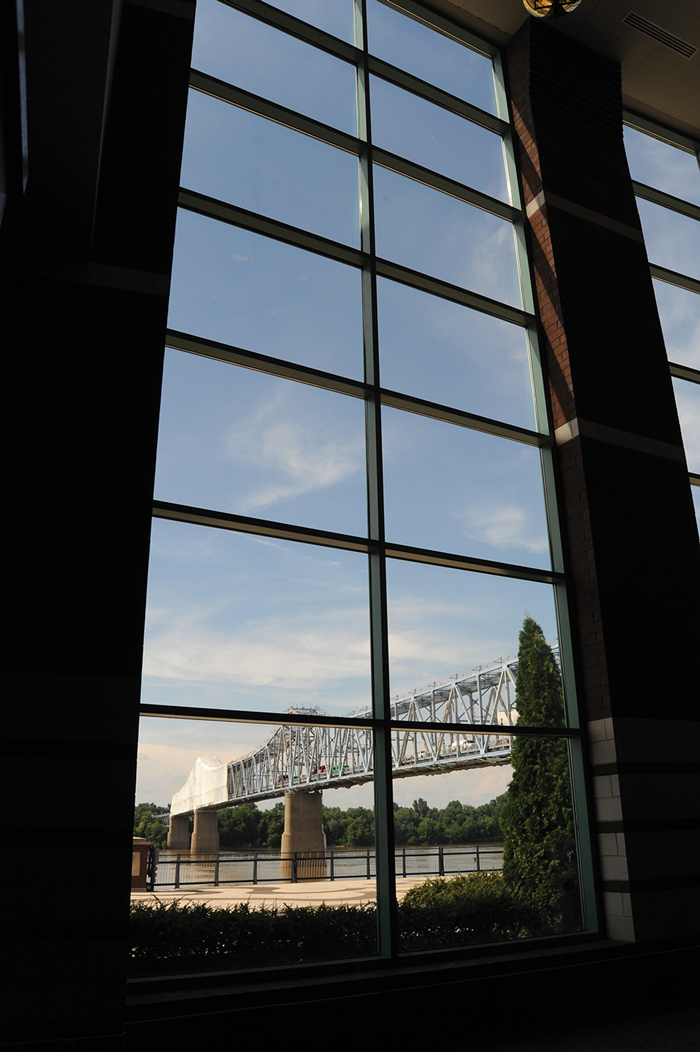The Glover Cary Bridge, now being painted after a $3 million rehab in 2011, is visible through the windows of the new Owensboro Convention Center. (Debra Gibson Isaacs photo)
