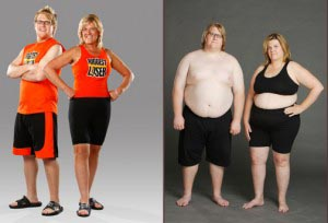 Dan and Jackie, before losing 225 pounds (at right), and after.