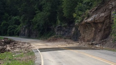 A photo of the mudslide, courtesy of WYMT-TV.