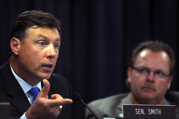 Sen. Brandon Smith, R-Hazard, poses a question about federal regulation of greenhouse gas emissions during the July meeting of the Interim Joint Committee on Natural Resources and Environment.