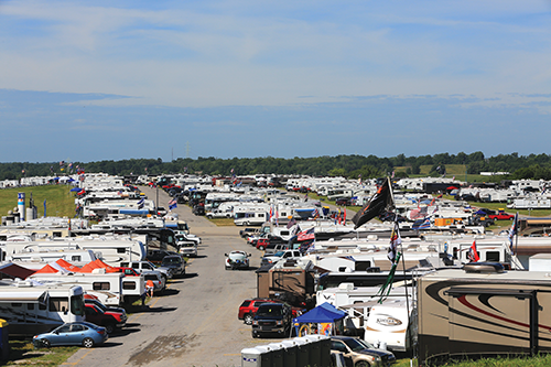 The 1,000-acre Kentucky Speedway site in Sparta, Ky., includes hundreds of acres of camping and motorhome sites.