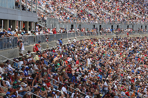 The Kentucky Speedway grandstands 107,000 seats with ticket face values ranging from $70 to $110.