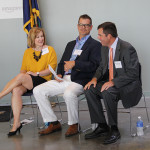 Rep. Donna Mayfield, R-Winchester; Todd Denham, Clark County Industrial Authority Director; and Mike Gathright, Amazon regional customer service, chat before the ribbon-cutting ceremony at the Amazon call center.