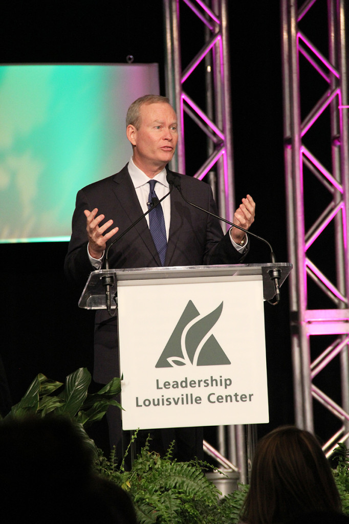 Mayor Mick Cornett, shown here at the Leadership Louisville Luncheon on Thursday, has served nine years as mayor of Oklahoma City, which has used local-option sales taxes to invest in infrastructure that has reshaped the city.