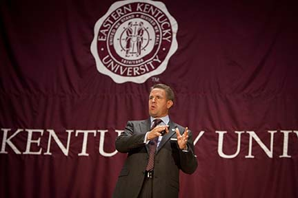 New Eastern Kentucky University President Michael T. Benson gave his first convocation at the Richmond university on Wednesday.