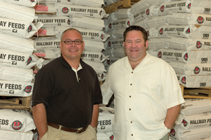 Jeff Pendleton, left, general manager, and Lee Hall, vice president of Hallway Feeds in Lexington, believe export opportunities will continue for their growing specialty equine feed operation.