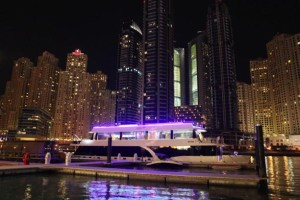 A Stardust Cruisers houseboat, made in Kentucky, sits at dock in Dubai, India.