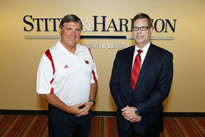University of Louisville's Tom Jurich thanks Stites & Harbison chairman Ken Sagan for the firm's $2 million gift.