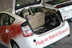 Speed students modified a hybrid Prius to be a plug-in. It serves as one test bed for the school's research.