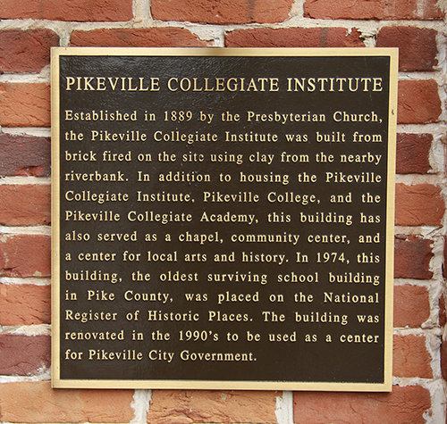 A historic marker explains the various usages since 1889 of the building that will be home to the University of Pikeville College of Business beginning with the spring 2014 semester.