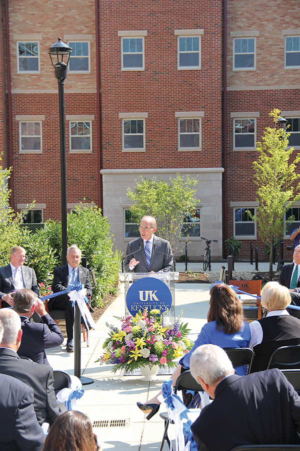UK President Eli Capilouto at the grand opening ceremony for Central Hall I and II.