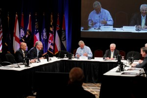 During a panel discussion on Sunday at the SGA Annual Meeting in Louisville, Connected Nation President and COO Tom Ferree (left) discusses broadband with governors including Steve Beshear, 4th from left.