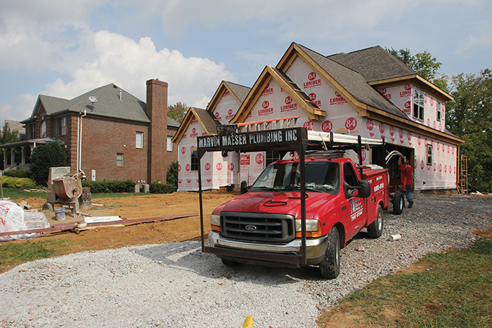 A new home is constructed in the Polo Fields subdivision in Louisville, Ky. More than 1,700 new homes have been constructed in Louisville this year, as of August 2013. (Staff photo)
