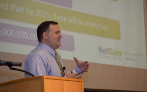 Bryan Jackson, chief technology evangelist and trends expert for NetGain Technologies, speaks at a one-day technology event, Executive Outlook – Information Technology Trends of 2014 conducted at The Center for Rural Development in Somerset.