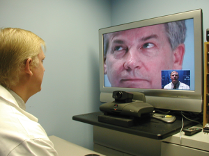 A doctor with KentuckyOne Anywhere Care conducts a practice interaction with a patient. The program implemented Nov. 1 gives users around-the-clock access to doctors and nurse practitioners for medical diagnosis, treatment planning from any Internet-connected computer with a web-cam and microphone. Anywhere Care providers can prescribe non-controlled substances and refer patients for a follow-up clinic visit or to an emergency department.