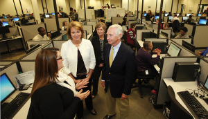 Gov. Steve Beshear visits the Kynect call center in Lexington on Nov. 8.