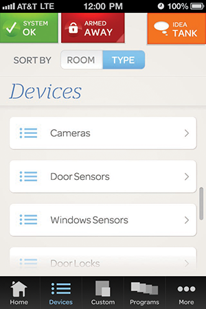 An example screen for AT&T Digital Life, which allows customers to manage their homes from anywhere using a smartphones or tablets, is shown above.