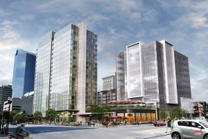 A rendering of the future CentrePointe development, under construction now.