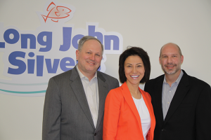 Key member of the Long John Silver's management team are, from left, CEO Mike Kerns; Marie Zhang, senior vice president of research and development, quality assurance and supply chain; and Charles St. Clair, chief marketing officer.