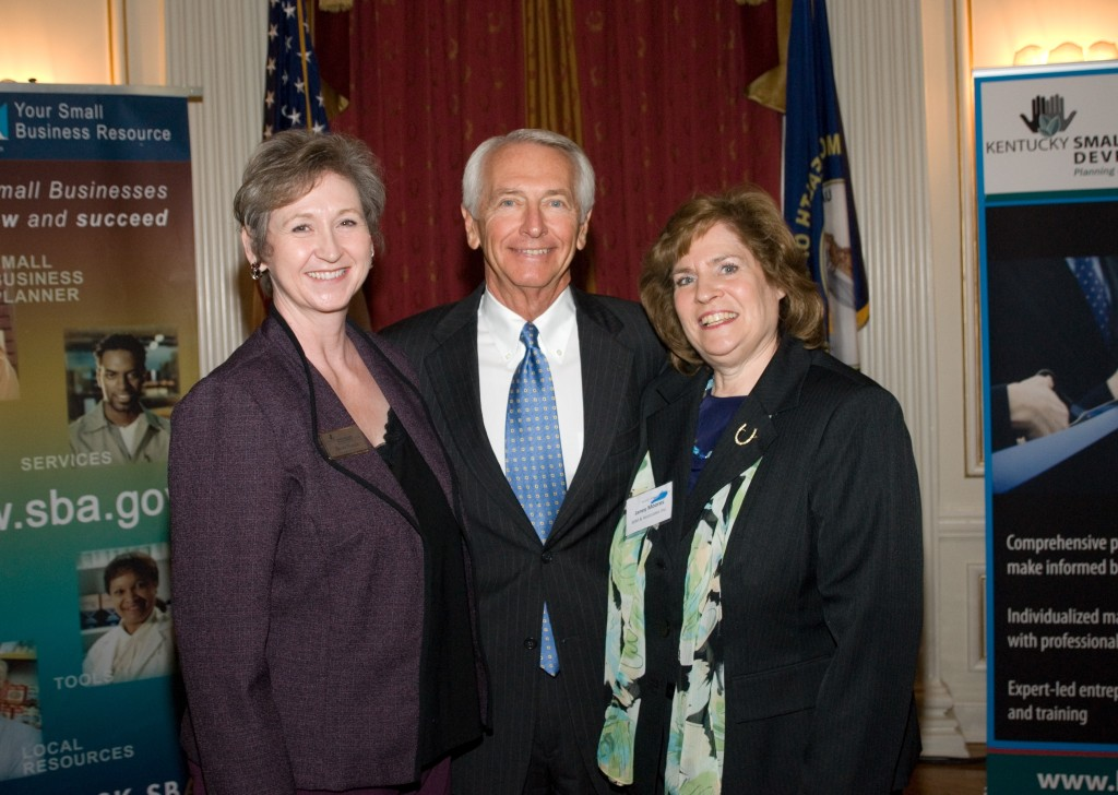 Becky Naugle, director of the Kentucky Small Business Center network; Kentucky Gov. Steve Beshear; and Janey Moores, owner of BJM and Associates, at a Kentucky Pacesetter Business Recognition Program.