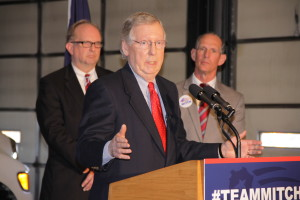 Mark Green photoU.S. Sen. Mitch McConnell speaks to a crowd of Republican supporters Friday in Lexington at Whayne Supply where he picked up the endorsement of the U.S. Chamber of Commerce in his bid for a sixth term.