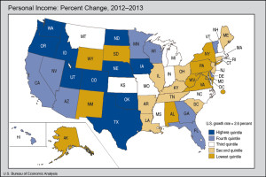 Personal income growth was best in a swath from Texas to Washington state, plus North Dakota, Iowa and Nebraska.
